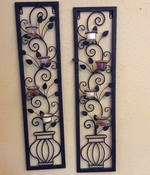 "3 1/2 feet tall x 8"" wrought iron candle votive holders - Black for Sale in Ruston, WA"