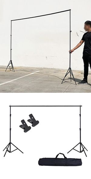 $30 New Adjustable Backdrop Stand (6.5ft tall x 10ft wide) Photo Photography Background w/ Carry Bag & 2 Clip for Sale in Pico Rivera, CA