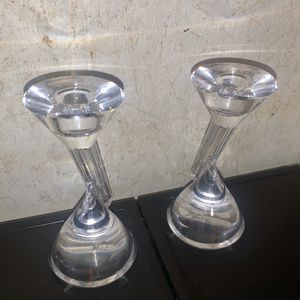 Crystal Glass Candle Holders Set Of 2 for Sale in Davenport, FL