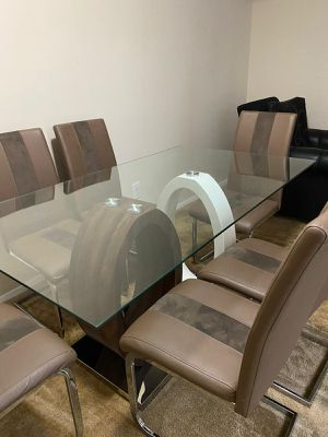 Big Wooden Style Glass Table With 6 Chairs for Sale in Silver Spring, MD