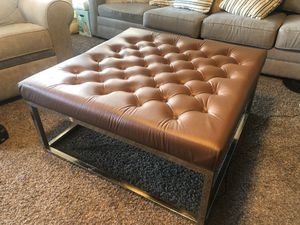 Brown Faux Leather and Metal Ottoman for Sale in Little Elm, TX