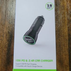 Fast Charge18W PD & 2.4A Car Charger... Cargador De 18 Watts PD Carga Rapida Para Carro... for Sale in Los Angeles, CA