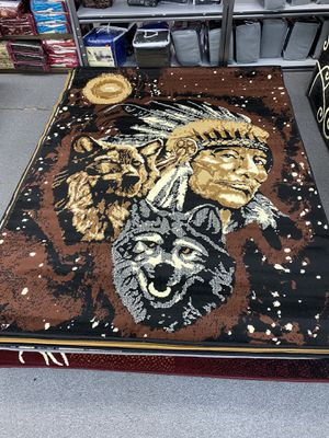 Indian with wolf design area rug brand new for Sale in Salem, OR