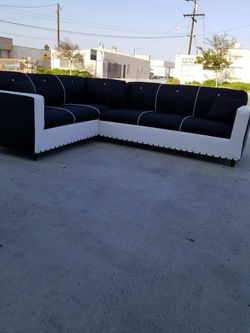 NEW 7X9FT DOMINO BLACK FABRIC SECTIONAL COUCHES for Sale in Los Angeles,  CA