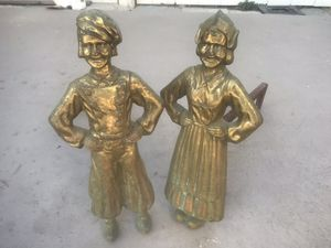 MAKE OFFER! Brass of Figural Dutch Boy & Girl Andirons for Sale in San Diego, CA