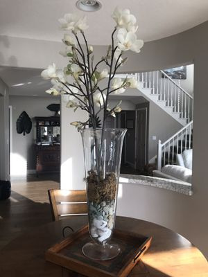 Decor - 2 tall vases with magnolia flower stems for Sale in Discovery Bay, CA