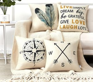 Brand new Decorative Throw Pillow Covers 18x18 Inches Set of 4 Cotton Linen Compass Arrow Feather Live Love Laugh Quote Couch Pillow Covers for Moder for Sale in Tigard, OR