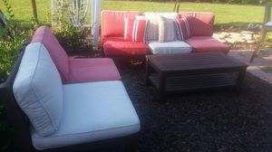 Pottery barn Chesapeake outdoor wood sectional patio porch sofa coffee table set with cushions for Sale in Lake Elsinore, CA