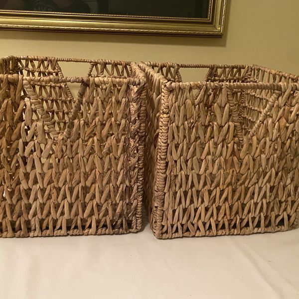 Two Rattan Collapsible Container Cubes