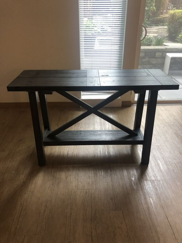 Grey wooden collapsible table! Cute for dining or entryway