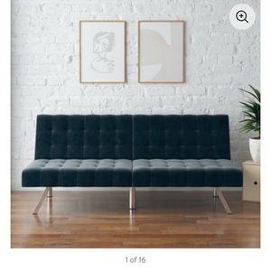 Modern Blue Velvet Sofa/futon CLEAN for Sale in Silver Spring, MD