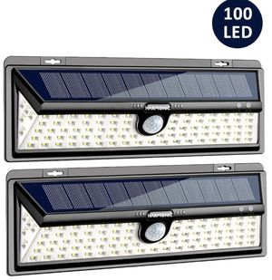 Solar Lights Outdoor, 100 LED Motion Sensor Light with 270° Wide Angle, 3 Optional Modes IP65 Waterproof Solar Security Wall Lights for Garden, Front for Sale in Edison, NJ