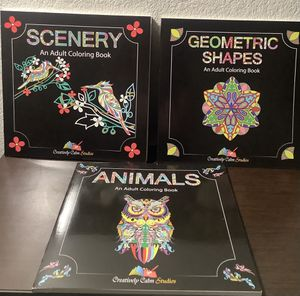 ADULT COLORING BOOKS - ANIMALS, GEOMETRIC SHAPES WITH MANDALA DESIGNS AND SCENERY for Sale in Sacramento, CA