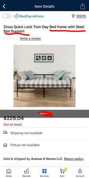 Zinus qouick lock twin day bed frame with steel slat support for Sale in Delano, CA