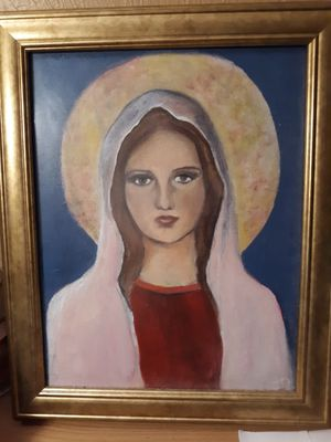 Handpainted wall oil painting of mother Mary on canvas with gold frame for Sale in Southbridge, MA