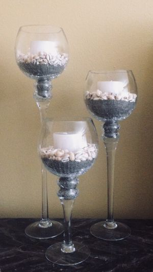 Large Glass Candle Holders with Sand,Seashells and Candles for Sale in Mill Creek, WA