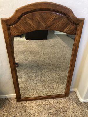 Large Oak framed mirror wall mirror 46x28 for Sale in Gilbert, AZ
