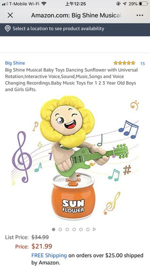 Big Shine Musical Baby Toys Dancing Sunflower with Universal Rotation,Interactive Voice,Sound,Music,Songs and Voice Changing Recordings.Baby Music To for Sale in Philadelphia, PA