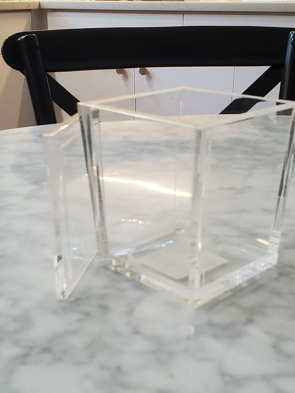 """New for Staging Cotton Jar Clear Bathroom Accessories 4.5 high x 4"""" square top x 3.25"""" base"""