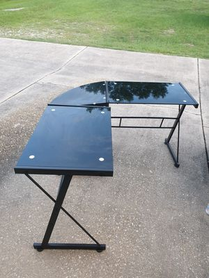 L Shaped Desk Office Computer Glass Corner Desk With Keyboard Tray for Sale in Milton, FL