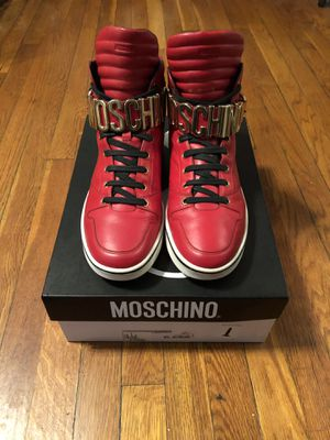 Men's Moschino logo high top sneakers size 45 (12) paid $600 authentic with box. The shoes are in excellent condition. Worn a couple of times for Sale in Washington, DC