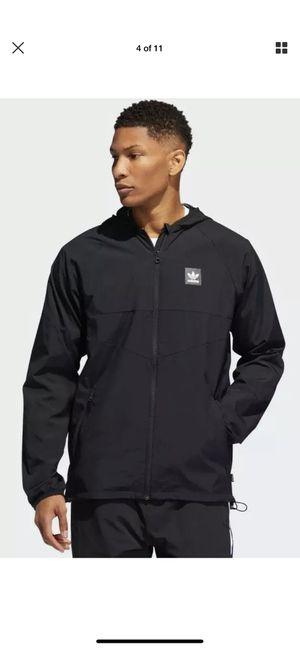 ADIDAS TRAK JKT WINDBREAKER MENS DU8322-BLACK size Large men for Sale in Bell Gardens, CA