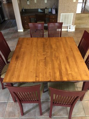 """Square (equivalent size to 60"""" round table) table with 8 upholstered chairs for Sale in Woodbine, MD"""