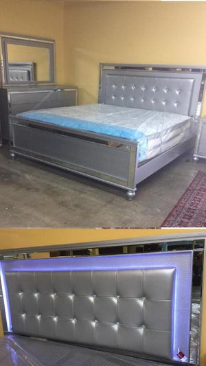 Queen BEDROOM SET. FEATURING LED LIGHTS ON HEADBOARD AND MIRROR. $40 Down. No Credit Check financing available. for Sale in Hialeah, FL