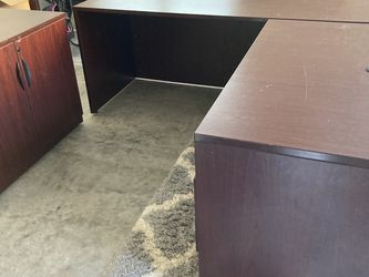 L Shaped Office Desk With Matching Cabinet for Sale in Marietta,  GA