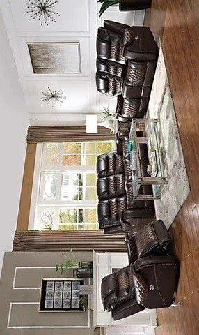 Glendale power top grain leather 3pc living room set for Sale in Houston, TX
