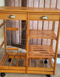 Wood Kitchen Island Storage Trolley Utility Cart Rack w/Storage Drawers/Baskets Dining Stand w/Wheels Counter top. Used Just Like New for Sale in Metuchen,  NJ