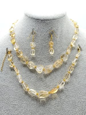 Beautiful Rough Cut Polished Citrine Gold Tone Set for Sale in DeKalb, IL