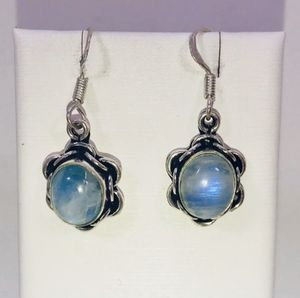 Natural fiery blue rainbow 🌈 Moonstones small round shaped stones & .925 stamped sterling silver embellished dangle hook earrings NEW! for Sale in Carrollton, TX