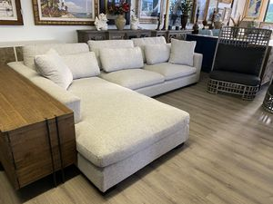 """133"""" Brand New Left Arm Facing Luxe Depth Down Filled Gray Fabric Sectional Sofa Couch Modern Track Arm for Sale in Lake Worth, FL"""