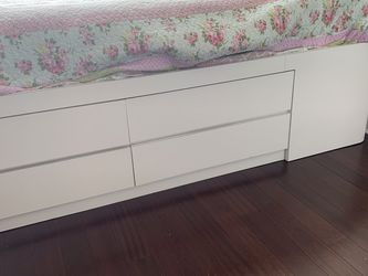 White Twin XL Storage Bed - Solid Wood, Formica Exterior, Custom Made for Sale in Brooklyn,  NY