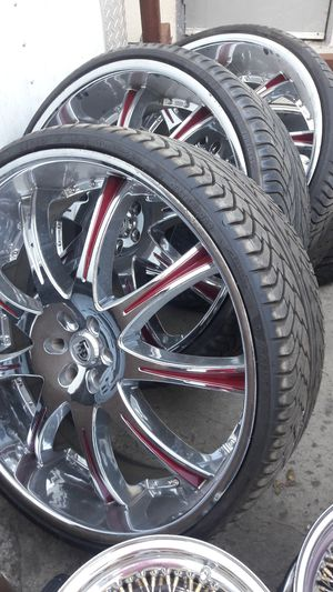 """4 Rims and tires 28"""" Lexani with candy painted inserts for Sale in Sacramento, CA"""