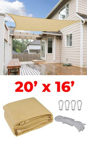 New $50 each 20x16' Rectangle Sun Shade Sail Outdoor Canopy Top Cover, Tan Color for Sale in South El Monte, CA