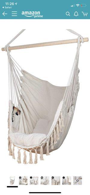 Komorebi Hammock Chair | Hanging Rope Swing Seat for Indoor & Outdoor | Soft & Durable Cotton Canvas for Sale in Rancho Cucamonga, CA