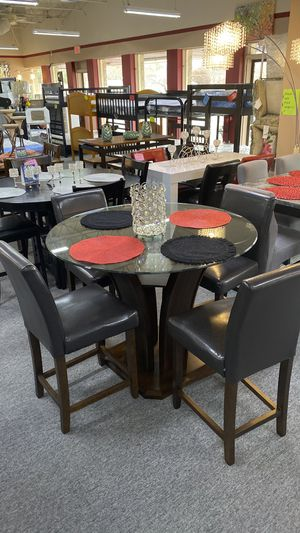 5Pc Counter Height Dining Table Set 4 Chairs and Glass Top GX for Sale in Euless, TX