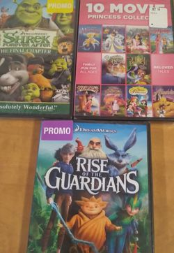 New Kids DVD lot princess 3 new sealed DVD Princess collection, shrek, rise of guardians for Sale in Huttonsville,  WV