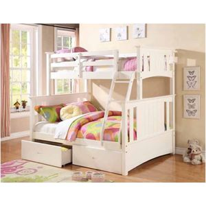 WHITE BUNK BED WITH DRAWERS AND MATTRESSES for Sale in Las Vegas, NV