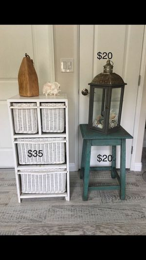 Beautiful distressed beach cottage wicker drawer cabinet and distressed side table and candle decor for Sale in Irvine, CA