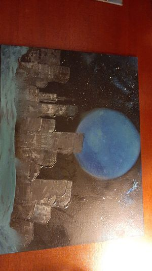 Night city spray painted canvas, flat for Sale in Inwood, WV
