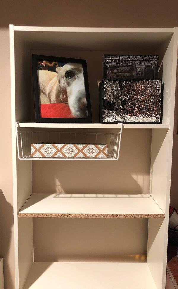 5 shelf white bookcase