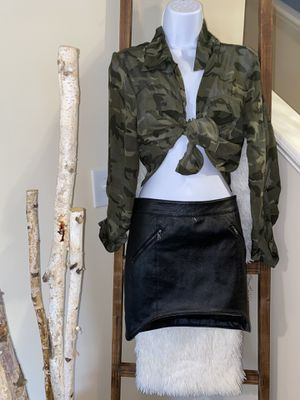 Camo mesh shirt and leather skirt for Sale in Winder, GA