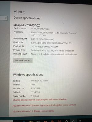 Ideapad y700-15ACZ gaming laptop for Sale in Norwalk, CA
