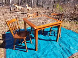 Table and 3 Solid Oak Wood Chairs for Sale in Trinity, NC