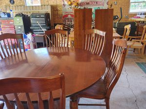 Dining Set with 6 chairs, 2 leafs & lazy susan for Sale in Machias, NY