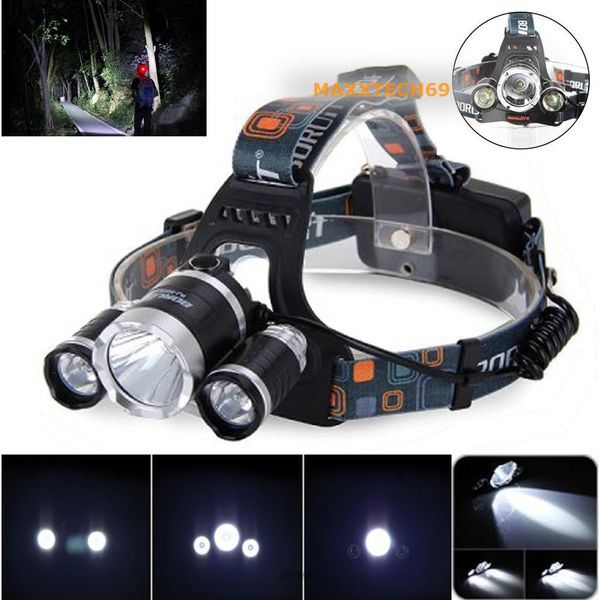 30000LM Tactical Headlight Cree XM-L T6 LED Headlamp Rechargeable+Batt+Charger
