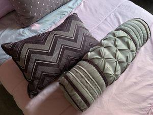 Set of 2 purple and gray decor pillows for Sale in Lorton, VA